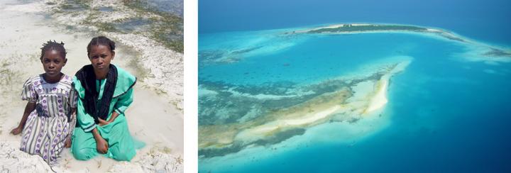Girls on beach - Zanzibar, Tanzania | Aerial view west of Zanzibar