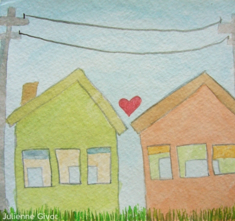 """All Objects In Love   5.5"""" x 5""""   watercolor on paper   2012"""