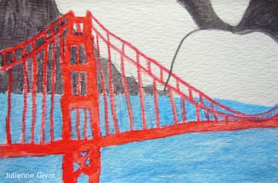 "Bridge Guardian   4.5"" x 3""   watercolor on paper"