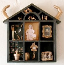 "Claudia's House 9"" x 9"" mixed media sculpture"