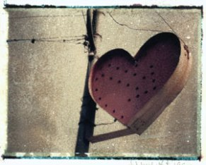 Heart Sign | polaroid transfer on cotton paper