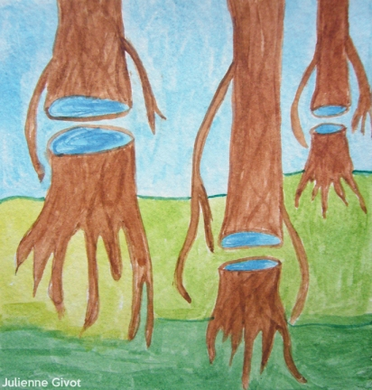 """New Growth Forest   5.5"""" x 5.25""""   watercolor on paper"""
