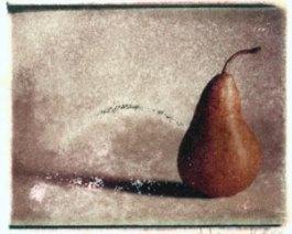 Pear   polaroid transfer on cotton paper