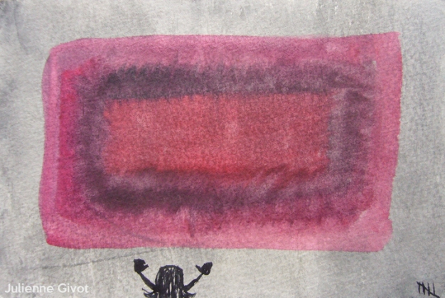 """Trying To Hug Rothko   6"""" x 4""""   watercolor on paper"""