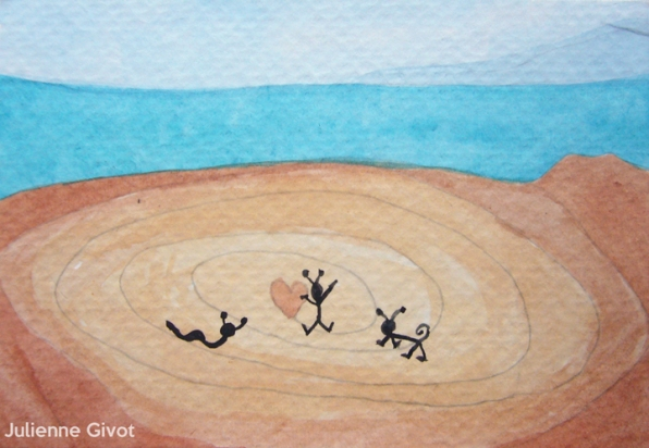 """We Were Here   5.5"""" x 3.75""""   watercolor on paper"""