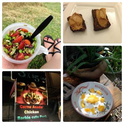 Maui Slaw, Banana Bread w/PB, Barbie Cute Pork, Yogurt n Starfruit