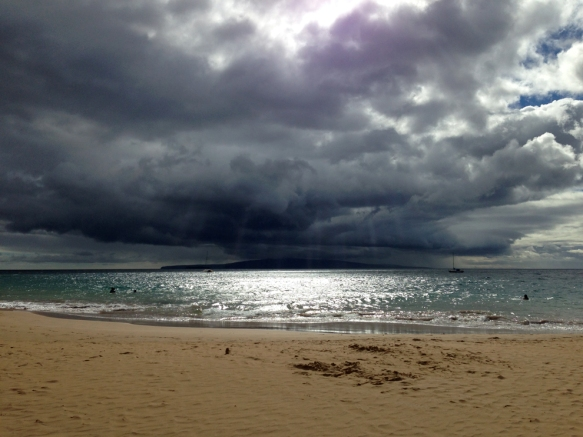 Dramatic view from the beach in Kihei