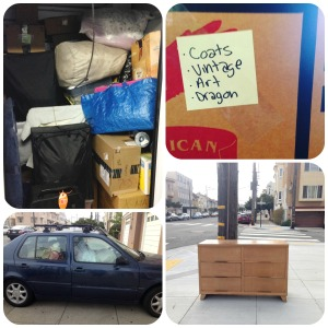 Half filled storage unit, boxes, gypsy car, the corner trading post/giveaway