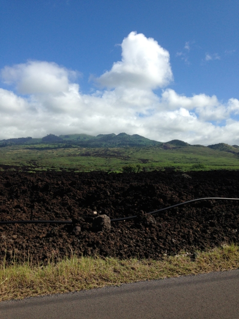The mountains and lava fields.